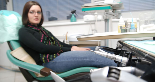 Lady on dentist chair
